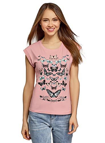 oodji Ultra Mujer Camiseta de Algodón con Estampado y Pedrería Metálica, Rosa,...
