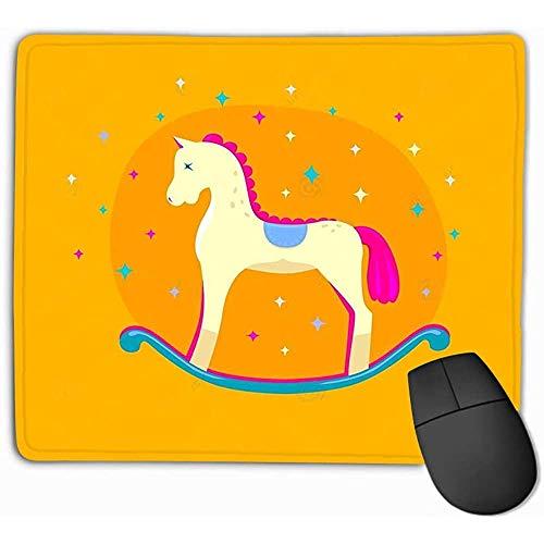 Alfombrilla de ratón Lindo Caballo Mecedora Brillante Fondo Amarillo Aislado Elemento de diseño...