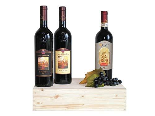 """Wein in Original Holzkiste """"Geschenk Weine Toscani Banfi in Original Holzkiste - 3 Flaschen� Geschenkset Italienisches Wein (Code N120)"""