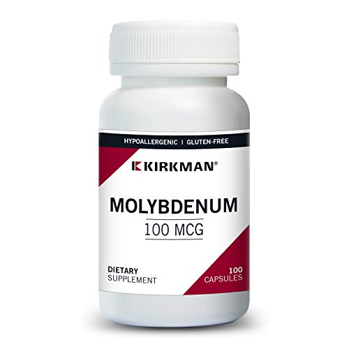 Kirkman Molybdenum 100mcg - Hypoallergenic    100 Vegetarian Capsules    Aids in Sulfur Metabolism    Mineral    Gluten and Casein Free