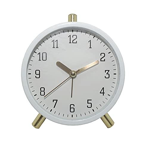 Kfhfhsdgsanz Despertador, Reloj Color Sólido Pequeño Reloj de Alarma Hogar Sala de Estar Reloj de Silencio (Color : White)