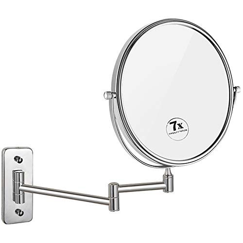 Nicesail 8 Inch Wall Mountable Mirror with 7X Magnification, Chrome Finish Mirror -