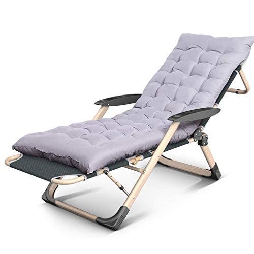 WJJJ Stuhl Liegestuhl am Strand, Campingbett im Garten, Zustellbett, verstellbare Sonnenliege aus Oxford-Stoff (Farbe: Grauer Stuhl + Kissen)