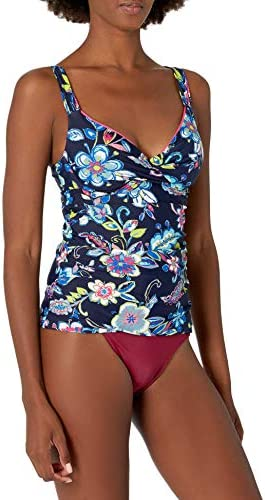 Anne Cole Women s Twist Front Underwire Cup Sized Tankini Swim Top Holiday Paisley 34B 32C product image