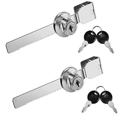 2 cerraduras de puerta de cristal deslizante de metal, cerradura de vitrina, cerradura de trinquete con 4 llaves.