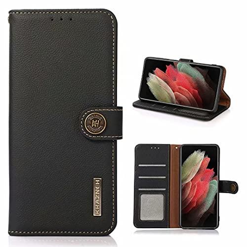 Estuche para Huawei P50 Pro Cover,Estuche para teléfono con Cepillo antirrobo RFID de Cuero de Vaca con Protector de Folio abatible para Huawei P50 Pro-Negro