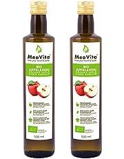 MeaVita Vinagre de Sidra Orgánico de Manzana, natural turbio y sin filtrar con nuez de vinagre, paquete de 2 (2 x 500 ml)