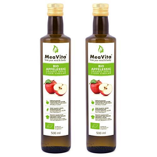 MeaVita Vinagre de Sidra Orgánico de Manzana, Natural Turbio y sin Filtrar con Nuez de Vinagre, 1000 ml (2 x 500 ml)