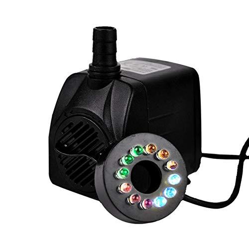 WXGY Mini Bomba de Agua Sumergible de plástico Bomba de circulación silenciosa 16W Perforación con luz LED para Acuario Pecera de Tanque Piscina Piscina Estanque Jardín Pájaro Fuente de baño