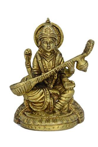 BHARAT HAAT reinem Messing Metall Statue of Sarasvati (Göttin der, Kunst und Wissen) mit Gitarre (Saraswati Vina) in Messing Metall Gute Arbeit bh00755