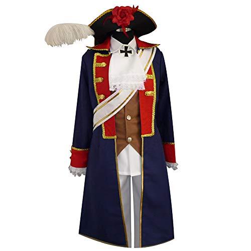 Hetalia: Axis Powers Prussia Gilbert Navy Military Uniform Cosplay Costume (MaleS)