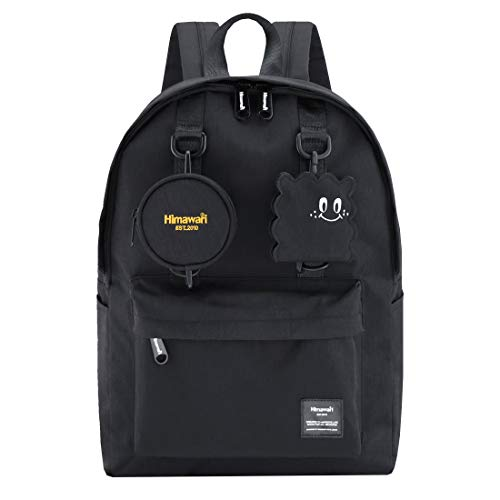 Himawari School Travel Backpack with Laptop Compartment, Waterproof Cute 15.6'' Notebook Bag Luggage for Boys Girls Adults, Casual Daypack, Black