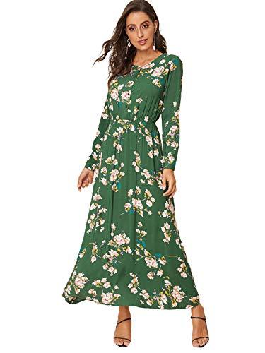 Milumia Women's Boho Floral Print Elastic Waist Round Neck Long Sleeve Maxi Dress Green X-Large