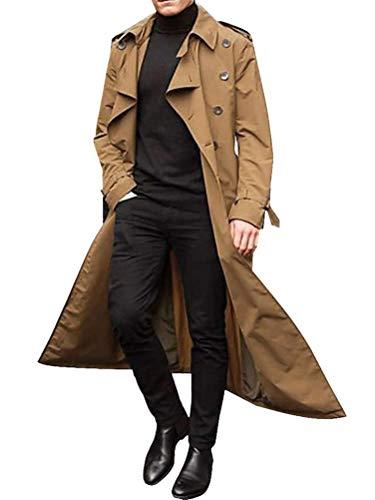 ORANDESIGNE Homme Manteau Long Trench-Coat Mince à Manches Longues Double Boutonnage Pardessus Col Revers Classique Manteaux Coupe Vent Blouson Parka Outwear Mode B Kaki Medium