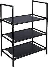 Shoe Rack 3 tiers, Narrow Shoe Rack, 3 tier Shoe Organizer, Sturdy Black Metal Non-woven Expandable Rack, Small Shoe Rack for Storage Kids Men Entryway Closet Bedroom
