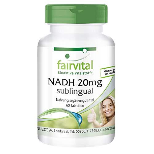 Preisvergleich Produktbild NADH 20mg sublingual - HOCHDOSIERT - Coenzym 1 - VEGAN - 60 Tabletten zum Lutschen