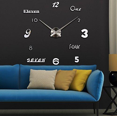 Asvert Reloj Reloj Pared Adhesivo DIY 3D Silencioso de Material Acrílico con Números Adhesivos (Efecto de Espejo) y Agujas EVA para Decoración de Hogar (Plata)