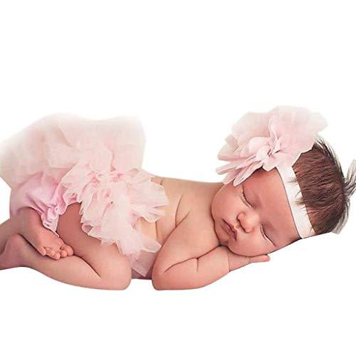 Recién Nacido Bebé Niña Ropa Prop Trajes para fotografía Ropa Baby Flower Head Knot + Bow Net Conjunto de Falda de Gasa Riou(0M-24M)