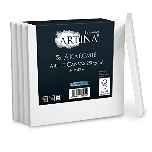 Artina Akademie Leinwand 5er Set 15x15 cm Leinwand auf FSC® Keilrahmen aus 100% Baumwolle auf stabilem Keilrahmen in Akademie Qualität - 280 g/m² zum Bemalen
