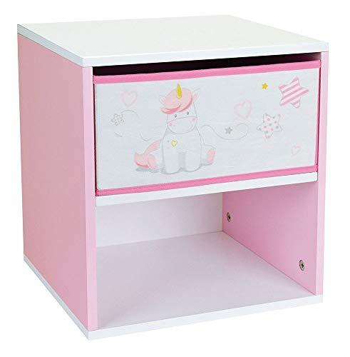 Fun House 713045 Licorne Chevet/Table de Nuit pour Enfant, Blanc/Rose, à partir de 2 Ans