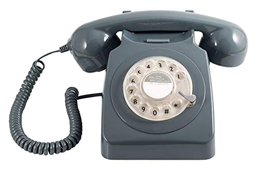 Telephone, GPO 746 Rotary 1970s-style Retro Phone/Handset with Authentic Bell Ring - Grey