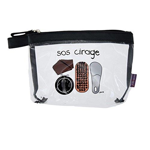 Incidence Paris 38426 Kit Krystal SOS Cirage Trousse et accessoires 6 pièces Transparent et noir