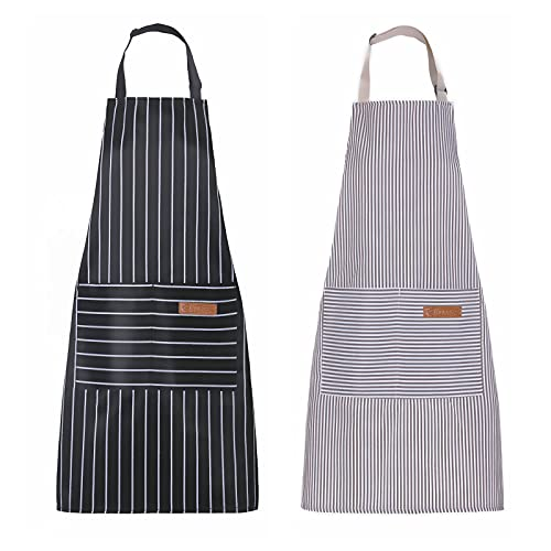 Apron, Adjustable 2 Pack Bib Aprons with 2 Pockets Cooking Kitchen Aprons for Men Women, for BBQ Outdoors Baking Crafting Drawing Chef Apron