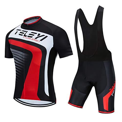 Roupa Para Ciclismo Conjunto Masculino Camisa e Bretelle Black Red (G)
