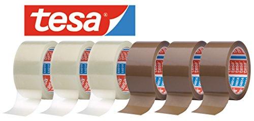 tesa 64014 Klebeband Paketklebeband Packband 66m x 50mm (gemischtes Aktionspaket / 3 Rollen Braun + 3 Rollen Transparent = 6 Rollen)