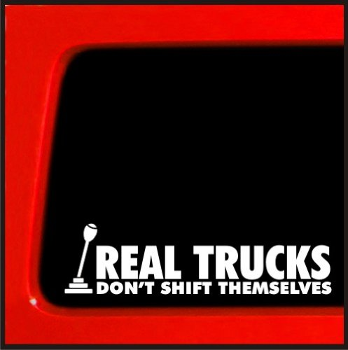 "Sticker Connection | Real Trucks Don't Shift Themselves | Bumper Sticker Decal for Car, Truck, Window, Laptop | 2.2""x8"" (White)"