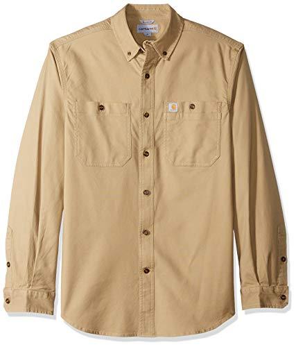 Carhartt Men's Rugged Flex Rigby Long Sleeve Work Shirt (Regular and Big & Tall Sizes), Dark Khaki, Large
