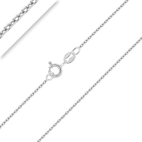 PLANETYS - Chaîne Argent 925/1000 Rhodié Maille Forçat Diamantée 1 mm 60 cm