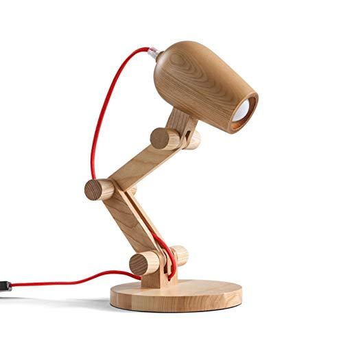 XIAN-jing Lámpara de mesita de Noche pequeña - Lámpara de Mesa de Noche con trípode de Madera para Dormitorio, Sala de Estar, Oficina (Bombilla incluida) (Color : Warm Light)