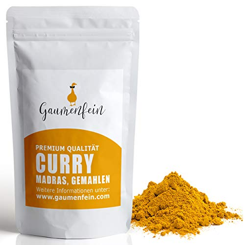GAUMENFEIN® Curry Madras Pulver Indisch Mittelscharf - Gewürzmischung - 100% natürliche Premium Qualität - 250g