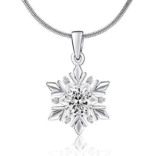 SILVEGO Damen Anhänger aus 925 Sterling Silber Schneeflocke mit Swarovski® Crystals