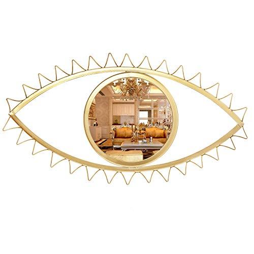 Cityelf 14 inch Wall Mirror Eye Shape Gold Metal Home Decor Home Decor Hanging Mirror Wall Art for...