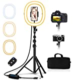 """Babacom 10.2"""" Ring Light avec Trépied et Support Téléphone, Anneau Lumineux Portable et Pliable, 3 Couleurs, Contrôle Bluetooth, 50' Hauteur, Sac de Transport pour Maquillage/Studio Vidéo/Youtube"""