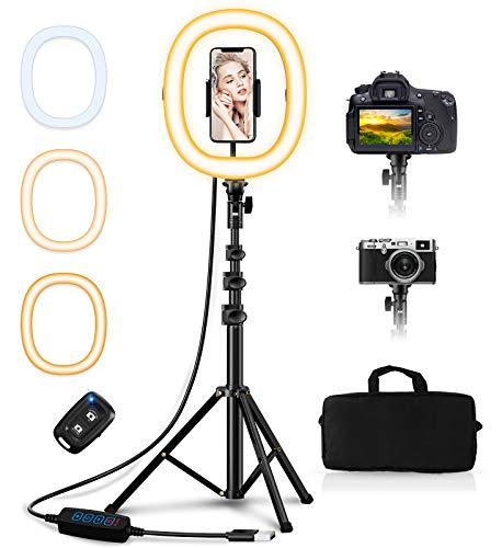 """Babacom 10.2"""" Ring Light avec Trépied et Support Téléphone, Anneau Lumineux Portable et Pliable, 3 Couleurs, Contrôle Bluetooth, 50"""" Hauteur, Sac de Transport pour Maquillage/Studio Vidéo/Youtube"""