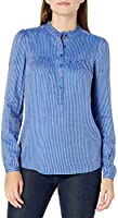 Amazon Brand - Goodthreads Women's Relaxed Fit Fluid Yarn-Dye Twill Long Sleeve Ruffle Trim Crewneck Peasant Shirt