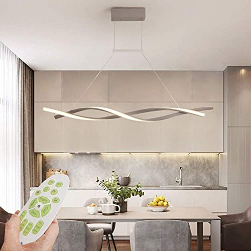Lámpara colgante de techo LED regulable con control remoto, lámpara colgante de araña de diseño en espiral creativo moderno para cocina, comedor, sala de estar, iluminación de oficina, gris, 47 pulgad