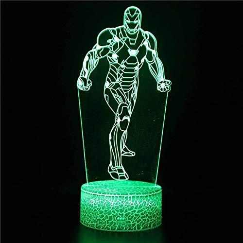 Animación creativa superhéroe base de grietas acrílico multicolor luz led luz nocturna luz visual 3D dormitorio, decoración de la habitación lámpara de mesa pequeña