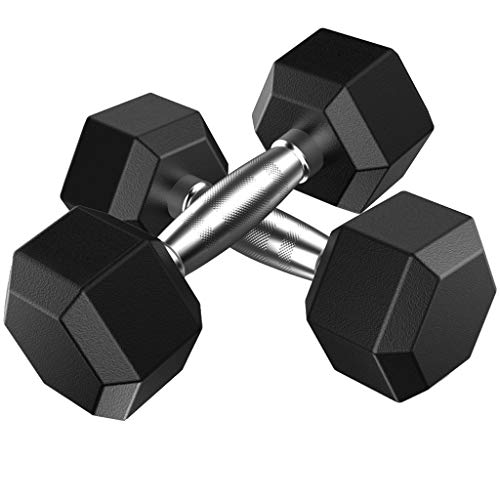 rubberized dumbbells Dumbbells Free Weights Dumbbells Weight Set Rubber Coated cast Iron Hex Black Dumbbell Pair 5/10/20/30/50 Pounds