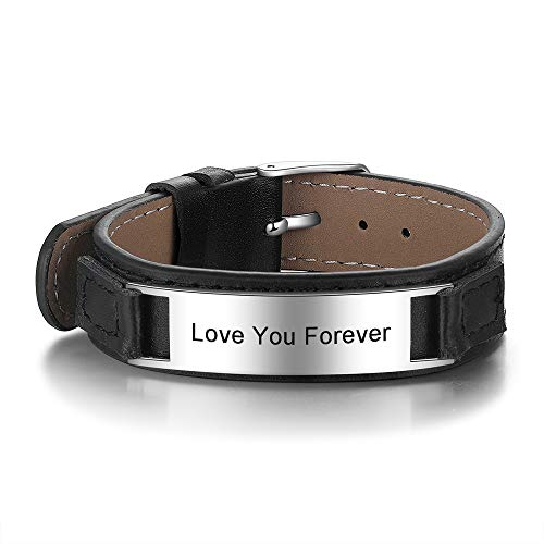 ROSI Personalized Men Black Braid Bracelet Custom Bracelet for Men with Small Custom Men's ID Bracelet (Black 2, Black Leather)