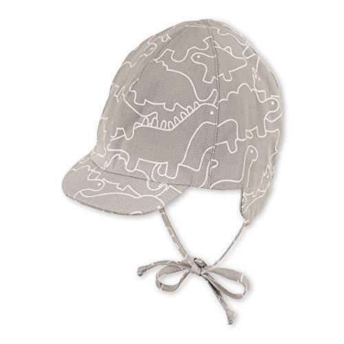 Sterntaler Baby-Jungen Schirmmütze Bindebändern, Ohrenklappen und Dinosaurier-Motiven Mütze, Grau (Rauchgrau 566), (Herstellergröße: 41)