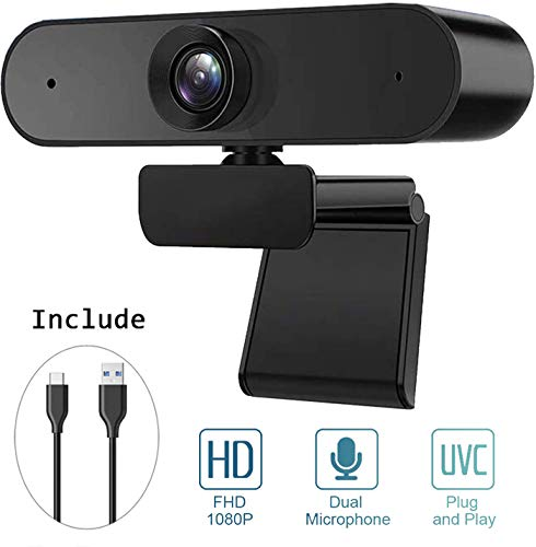 BENEWY Full HD 1080P Webcam, Webcam USB Plug & Play USB Mikrofon Webcam mit Mikrofon für PC, YouTube, Skype Videoanruf, Studieren, Konferenz,Monitor mit Webcam und mikrofon