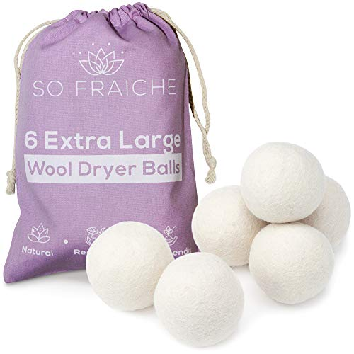 SO FRAICHE - 6 Extra Large Wool Dryer Balls - 100% Organic Premium New Zealand Wool - Natural and Reusable Laundry Softener - Anti-Static and Wrinkle Reducer