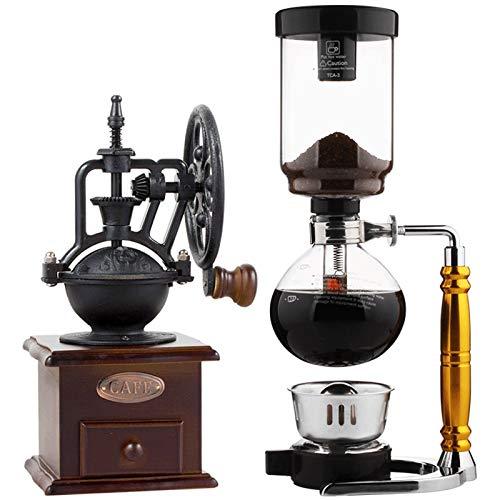 BNMY Manuelle Kaffeemühle -Siphon Kaffeekanne Set Siphon Kaffeemaschine 3 Tassen Vakuum Kaffeemaschinen,Braun