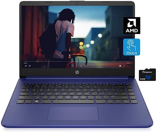 2021 HP 14 inch Touchscreen Laptop, AMD 3020e Processor, 4 GB RAM, 64 GB eMMC Storage, WiFi 5, Webcam, HDMI, Windows 10 S with Office 365 for 1 Year + Fairywren Card (Blue)