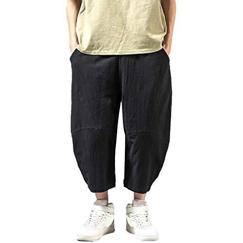 URIBAKY Hommes été Mode désinvolte Couleur Unie Lin Ample et Pantalon Jambe Large