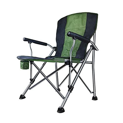JLJLJL Silla de Camping Plegable de Gran tamaño al Aire Libre, Silla de Brazo Acolchado de Servicio Pesado con Soporte de Taza y Bolsa de Almacenamiento, Capacidad de Peso Green-Black